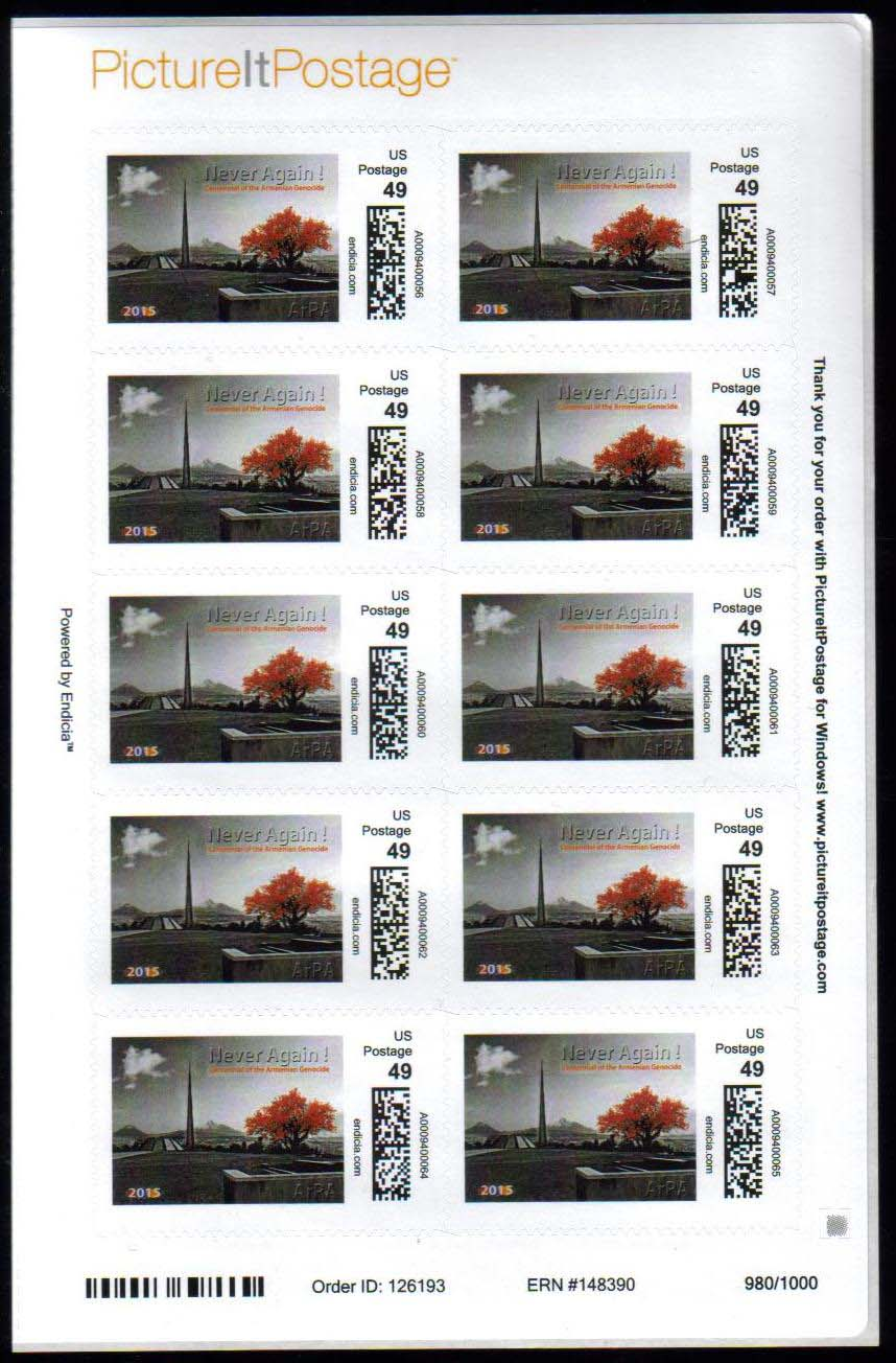 "<Font 203>49 cents US Genocide Stamp, issued by the ARPA (Armenian Philatelic Association) of Glendale California, showing the Genocide Memorial from outside.  This is a 49 cent stamp valid for postage in USA.  There are 10 self adhesive stamps per sheet. </font><br> <a href=""/images/ARPA-Genocide-B-Sheet.jpg"">   <font color=green><b>View the image</b></a></font>"