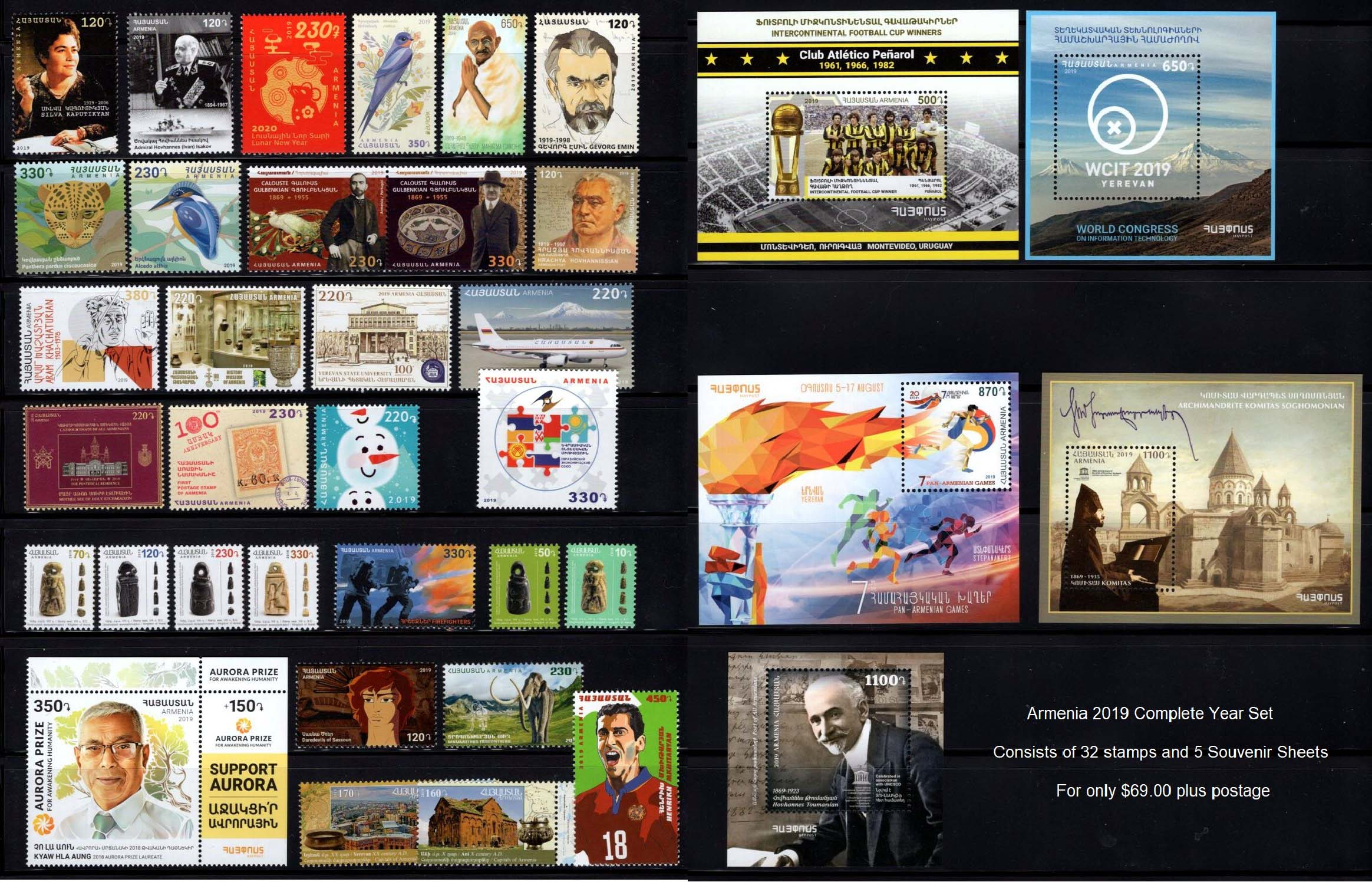 "<font =1-891>Armenia 2019 Complete Year Set.  A total of 32 stamps and 5 Souvenir Sheets  <a href=""/images/Armenia-2019C-YearSet.jpg\"">   <font color=green><b><br>View the image</b></a></font>"