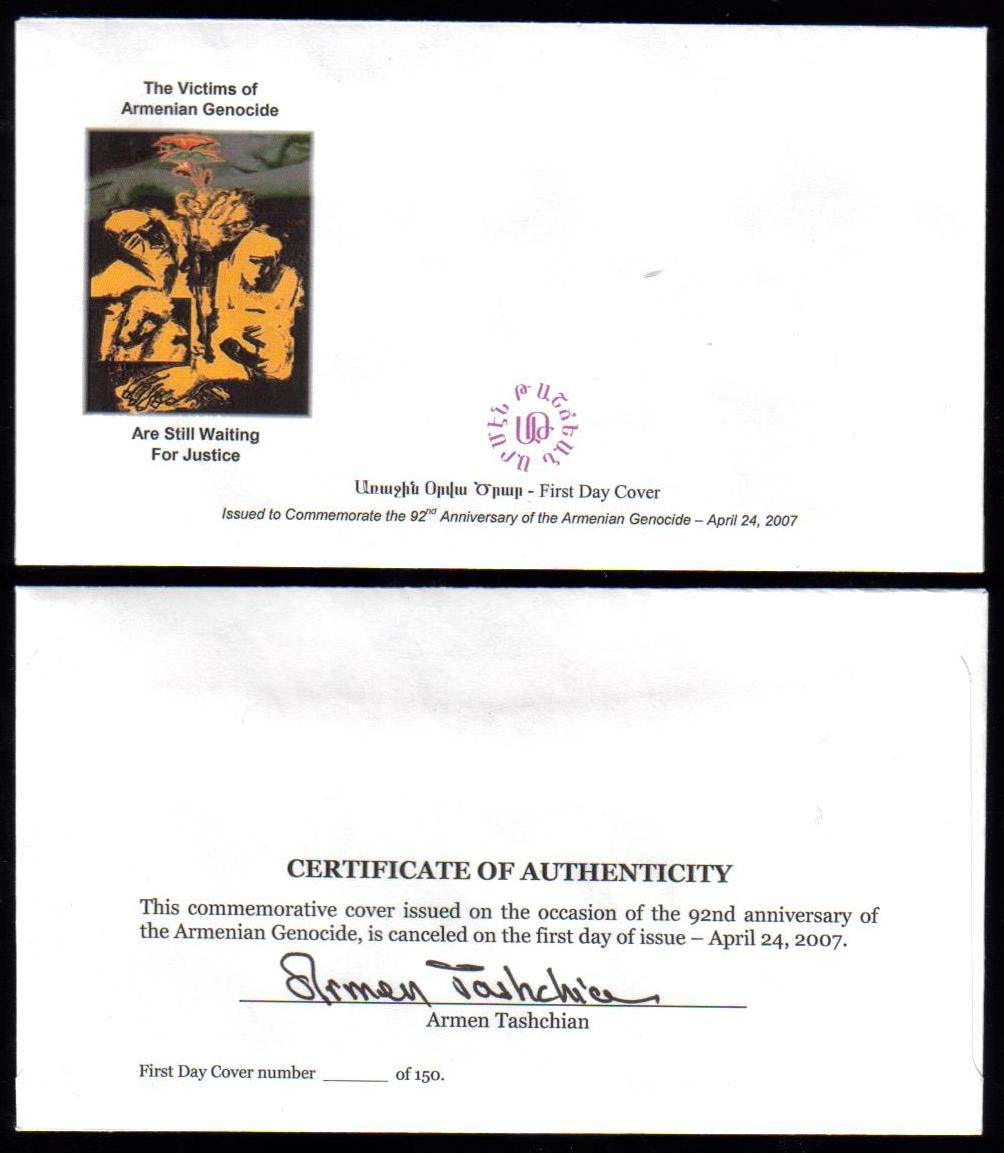 <font 204>First US Armenian Genocide stamp was issued in 2007.  This is a blank envelope (type 1) signed by the designer on the back. <br> <a href=&quot;/images/Armenia-Genocide-2007-Cover-01.jpg&quot;>   <font color=green><b>View the image</b></a></font>