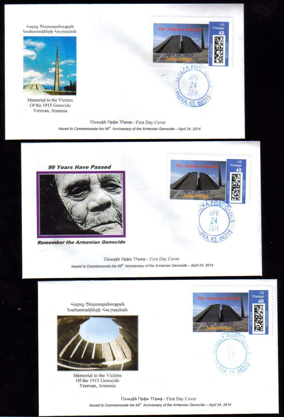 <font 203>Set of 3 First Day Covers, cancelled April 24, 2014.  A total of 72 sets were issued.  4 sets available. <br> <a href=&quot;/images/Armenia-Genocide-2014-FDC-Set.jpg&quot;>   <font color=green><b>View the image</b></a></font>