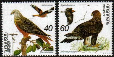 <Font 1-054>054-5, Birds of Armenia Scott #499-500 <p> <a href=&quot;/shop/catalog/images/ArmenianStamps-054-055.jpg&quot;>   <font color=green><b>View the image</b></a></font>