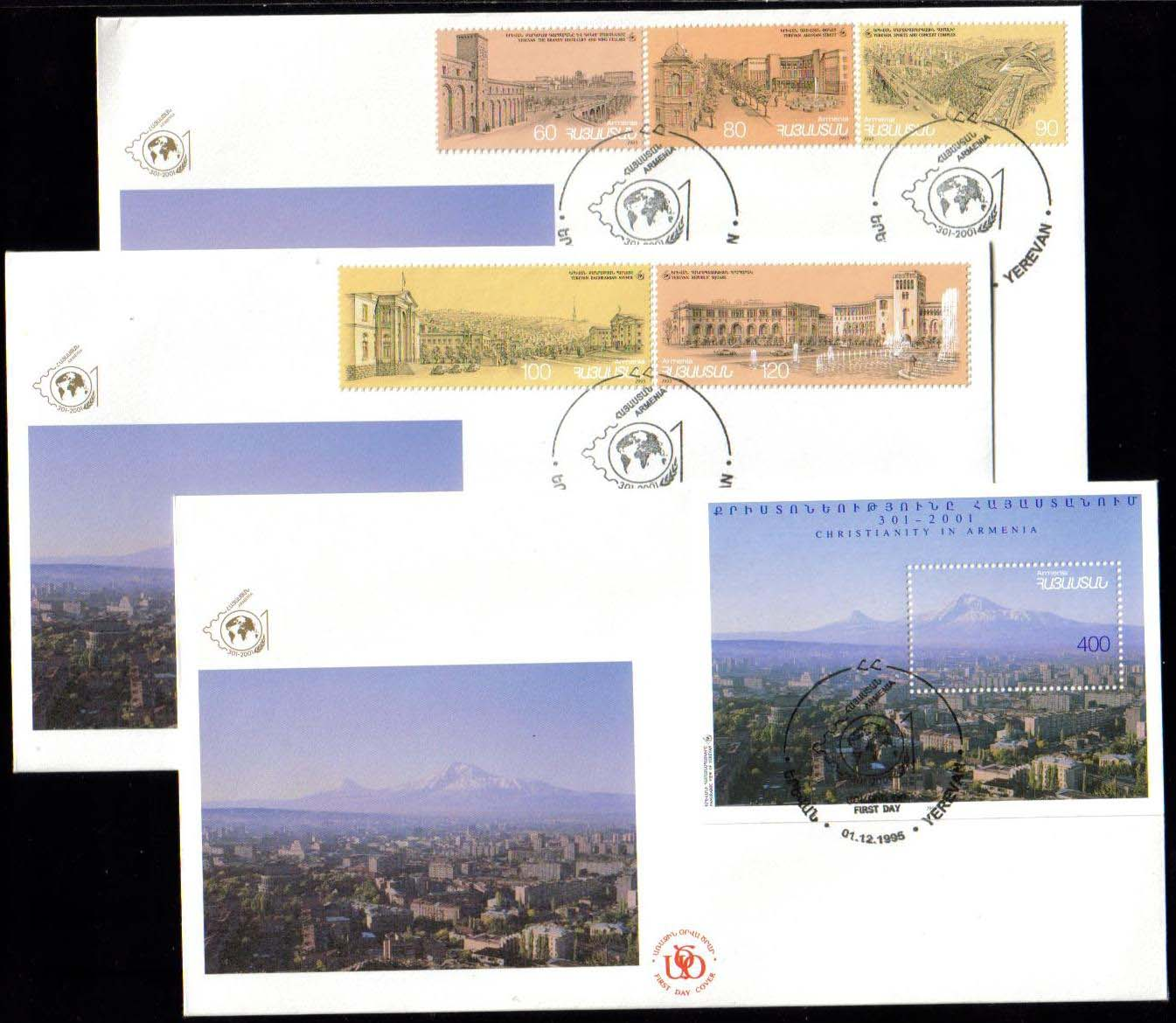 <Font 2-076g>073-78, FDC, Christianity in Armenia, Complete set of 5 and the S/S on three FDC, signed by Souren Arakelov Vice-President of Armenia 2001.  (50 complete sets were signed on the first day of the exhibition), Scott #515-520. <p> <a href=&quot;/images/ArmenianStamps-073-078-FDC-Set.jpg&quot;>   <font color=green><b>View the image</b></a></font>