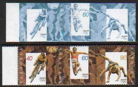 "<Font 9-096a>096-8, Atlanta Olympic Games. Major Error, only the blue color is printed.  Strip of 3, imperf, Scott #532.  The image shows the error strip compared to a regular issue<p> <a href=""/shop/catalog/images/ArmenianStamps-096-098-CT-blue.jpg"">   <font color=green><b>View the image</b></a></font>"