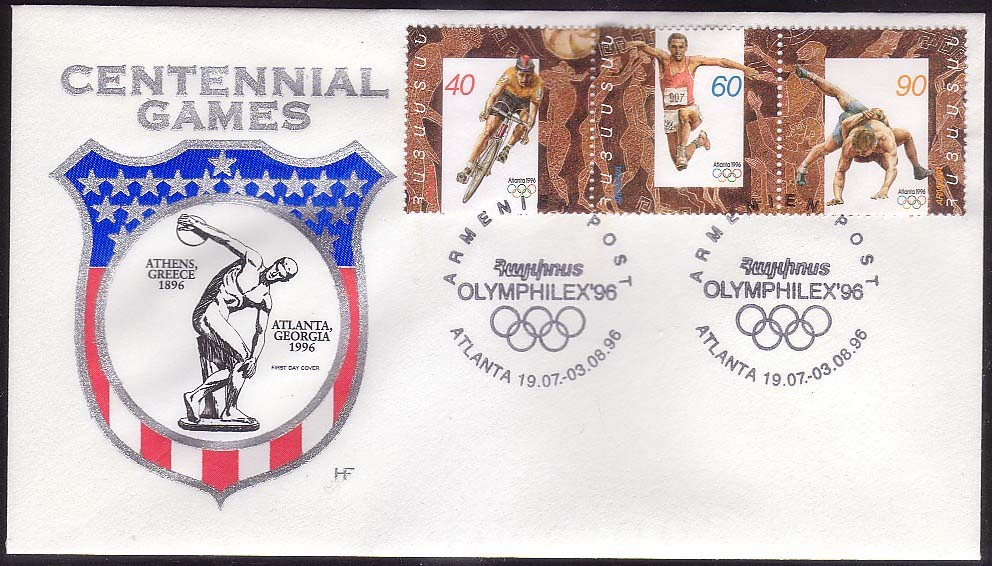 <Font 2-096e>096-8, FDC, Atlanta 1996 Olympic Games, different cachet, Scott #532.<p> <a href=&quot;/images/ArmenianStamps-096-098FDCE.jpg&quot;>   <font color=green><b>View the image</b></a></font>