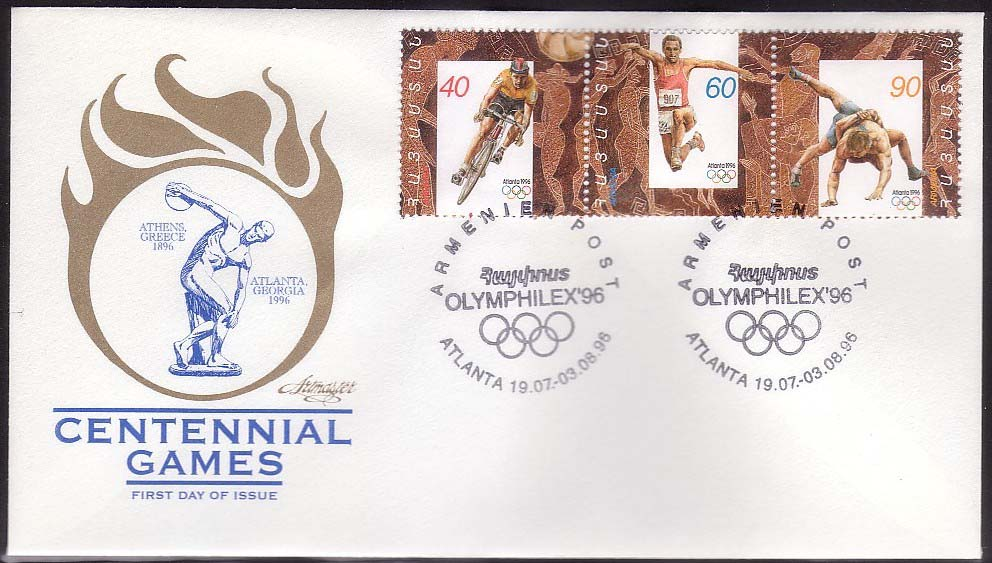 <Font 2-096f>096-8, FDC, Atlanta 1996 Olympic Games, different cachet, Scott #532.<p> <a href=&quot;/images/ArmenianStamps-096-098FDCF.jpg&quot;>   <font color=green><b>View the image</b></a></font>