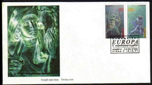 "<font 2-124>124-5, FDC, EUROPA, Legends, 1st issue. Scott #560-1<p> <a href=""/shop/catalog/images/ArmenianStamps-124-125FDC.jpg"">   <font color=green><b>View the image</b></a></font>"