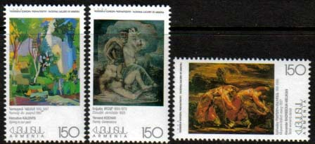 <font 1-137> 137-9, Paintings National Gallery of Armenia, 2nd issue Scott #573-5<p> <a href=&quot;/shop/catalog/images/ArmenianStamps-137-139.jpg&quot;>   <font color=green><b>View the image</b></a></font>