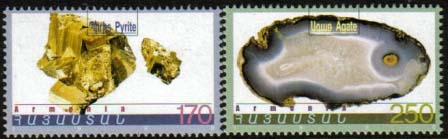 "<font 1-154>154-5, Minerals of Armenia, 1st issue.  Scott #585-6<p> <a href=""/shop/catalog/images/ArmenianStamps-154-155.jpg"">   <font color=green><b>View the image</b></a></font>"