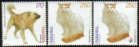 <font 1-165>165-6, Domestic animals, cat and dog, Scott #597-9 <p> <a href=&quot;/shop/catalog/images/ArmenianStamps-165-166.jpg&quot;>   <font color=green><b>View the image</b></a></font>