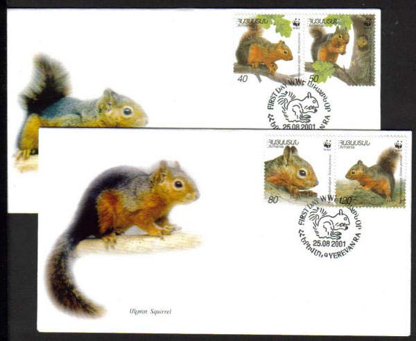 "<font 2-240f>240-3, FDC,  WWF, Persian Squirrel, Scott 632.  Set of 2 FDC<p> <a href=""/shop/catalog/images/ArmenianStamps-240-243-FDC.jpg"">   <font color=green><b>View the image</b></a></font>"