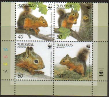 <font 1-240a>240-3, WWF, Persian Squirrel, Scott #632, issued in sheets of 8 (2 sets with margins)<p> <a href=&quot;/shop/catalog/images/ArmenianStamps-240-243.jpg&quot;>   <font color=green><b>View the image</b></a></font>