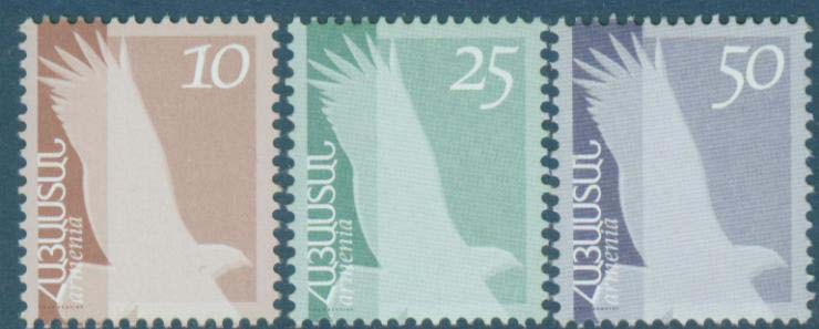 "<font 1-259a>259-61, Definitive issue, set of 3 stamps, Scott #647-9. <p> <a href=""/shop/catalog/images/ArmenianStamps-259-261.jpg"">   <font color=green><b>View the image</b></a></font>"