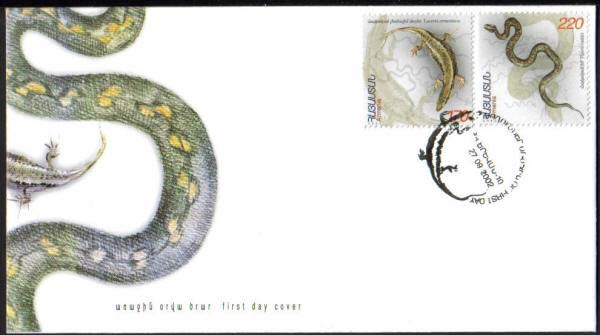"<font 2-274f>274-5, FDC, Reptiles Scott #662-3. <p> <a href=""/shop/catalog/images/ArmenianStamps-274-275-FDC.jpg"">   <font color=green><b>View the image</b></a></font>"