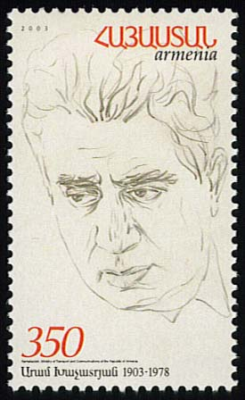 "<font 1-284a> 284, Aram  Khachatourian, birth Centenary Scott #672 <p> <a href=""/shop/catalog/images/ArmenianStamps-284.jpg"">   <font color=green><b>View the image</b></a></font>"