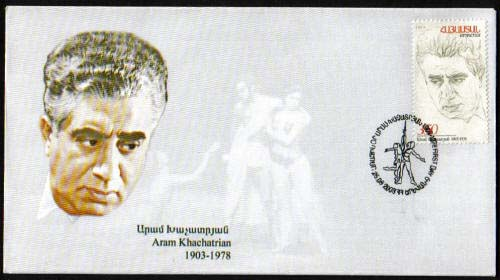 <font 2-284f>284, FDC, Aram Khachatourian, Color bg Scott #672. <p> <a href=&quot;/shop/catalog/images/ArmenianStamps-284a-FDC.jpg&quot;>   <font color=green><b>View the image</b></a></font>