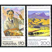 "<font 1-322a>322-3, Martiros Sarian Paintings, Scott #710-1.  <p> <a href=""/shop/catalog/images/ArmenianStamps-322-323.jpg"">   <font color=green><b>View the image</b></a></font>"