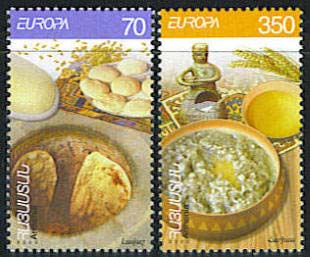 <font 1-324a>324-5, EUROPA 2005, Armenian Cuisine, Scott #713-4. <p><font color=red><b> Items with a $0.00 price are not available, they are listed as reference only. </font></b> <p> <a href=&quot;/shop/catalog/images/ArmenianStamps-324-325.jpg&quot;>   <font color=green><b>View the image</b></a></font>