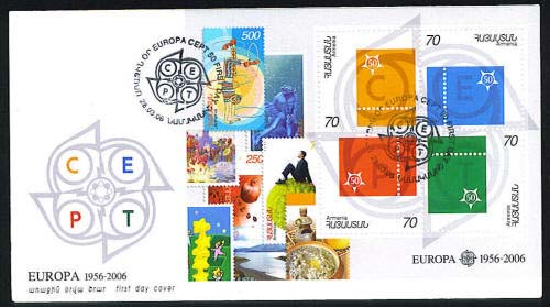 <font 2-351a>351, FDC, 50th Anniversary of Europa S/S. Scott #740. <p> <a href=&quot;/images/ArmenianStamps-351-FDC.jpg&quot;>   <font color=green><b>View the image</b></a></font>