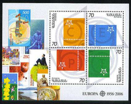 "<font 1-351a>351, 50th Anniversary of Europa, S/S Scott #740.<p> <a href=""/shop/catalog/images/ArmenianStamps-351.jpg"">   <font color=green><b>View the image</b></a></font>"