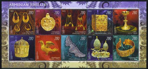 <font 1-372a>372-81, Decorative art of Armenian Jewelry, mini sheet of 10 stamps, (Not listed in Scott catalog).<p> <a href=&quot;/shop/catalog/images/ArmenianStamps-372-381MS.jpg&quot;>   <font color=green><b>View the image</b></a></font>