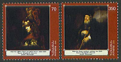 <font 1-401a>401-2, Rembrandt, 400th anniversary of birth, set of 2 <p> <a href=&quot;/shop/catalog/images/ArmenianStamps-401-402.jpg&quot;>   <font color=green><b>View the image</b></a></font>