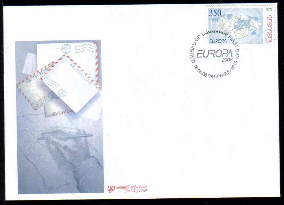 "<font 2-435f>435, EUROPA 2008, Letters, Official FDC, 18-06-2008,  Scott #778. <p> <a href=""/images/ArmenianStamps-435-FDC.jpg"">   <font color=green><b>View the image</b></a></font>"