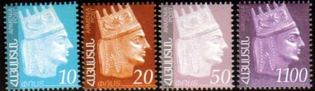 "<font 1-437a>437-440, King Tigran the Great Definitive (second group of 4 stamps). Face value: 10, 20, 50, 1100 Dram.  See also: #408-411, 450-53, 454-57.<p> <a href=""/shop/catalog/images/ArmenianStamps-437-440.jpg"">   <font color=green><b>View the image</b></a></font>"