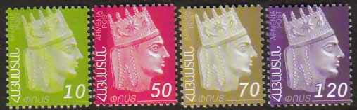 "<font 1-454a> 454-457, King Tigran the Great Definitive. Face value: 10, 50, 70, 120 Dram. Scott #792-99<br>  See also: #408-411, 437-440, 450-453.<p> <a href=""/shop/catalog/images/ArmenianStamps-454-457.jpg"">   <font color=green><b>View the image</b></a></font>"