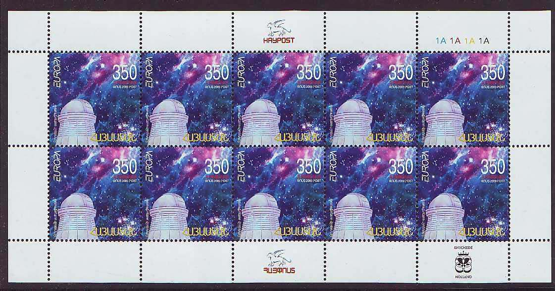 <font 3-459c>459, Europa 2009, Astronomy, Complete sheetlet of 10 stamps. <p> <a href=&quot;/shop/catalog/images/ArmenianStamps-459-Sheet.jpg&quot;>   <font color=green><b>View the image</b></a></font>