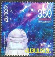 <font 1-459a>459, EUROPA 2009, Astronomy, single stamp with a Face Value of 350 Dram. Scott #801. <p> <a href=&quot;/shop/catalog/images/ArmenianStamps-459.jpg&quot;>   <font color=green><b>View the image</b></a></font>
