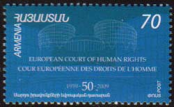 "<font 1-462a>462, 50th Anniversary of European Court of Human Rights, a single stamp. Scott #804.  <font color=red><b>Sold Out</font></b> <p> <a href=""/shop/catalog/images/ArmenianStamps-462.jpg"">   <font color=green><b>View the image</b></a></font>"