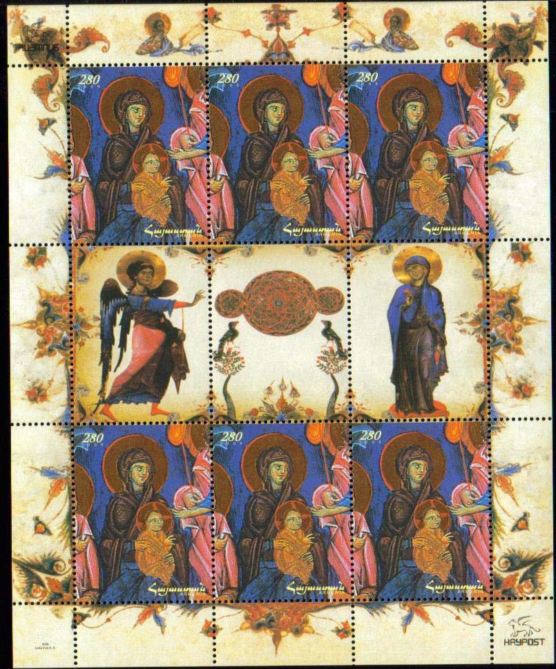"<font 4-480d>480, Christmas, Madonna and Child<br>Limited edition, Complete sheetlet of 6 stamps and 3 labels.<br> Date of Issue: Dec. 18, 2009<br> <a href=""/shop/catalog/images/ArmenianStamps-480-Sheet-6.jpg"">   <font color=green><b>View the image</b></a></font>"