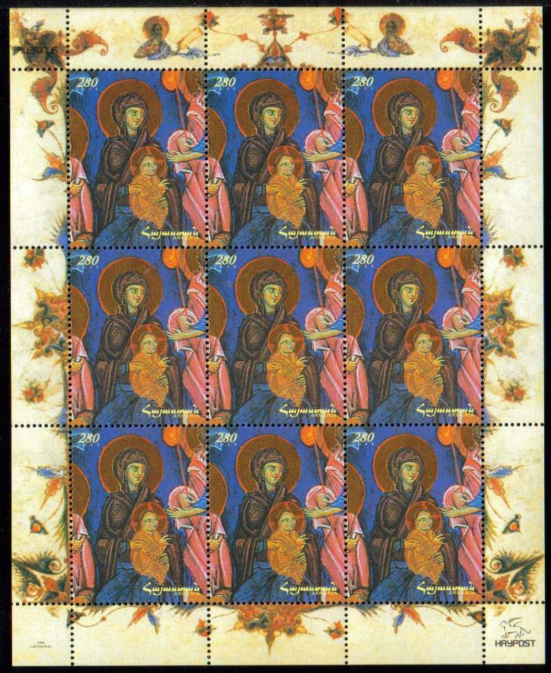 "<font 4-480c>480, Christmas, Madonna and Child<br>Complete sheetlet of 9 stamps.<br> Date of Issue: Dec. 18, 2009<br> <a href=""/shop/catalog/images/ArmenianStamps-480-Sheet-9.jpg"">   <font color=green><b>View the image</b></a></font>"