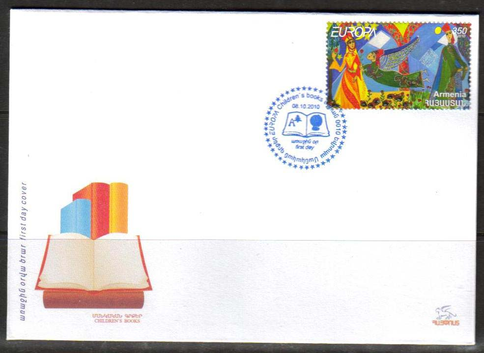 "<font 2-500f>500, Europa, Children books and stories.  Scott #847 <br>Official FDC<br>Date of Issue: Oct 8, 2010<br> <a href=""/images/ArmenianStamps-500-FDC.jpg"">   <font color=green><b>View the image</b></a></font>"