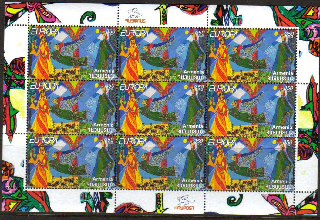 "<font 4-500s>500, Europa, Children books and stories.  Scott #847 <br>Sheetlet of 9<br>Date of Issue: Oct 8, 2010<br> <a href=""/images/ArmenianStamps-500-Sheet.jpg"">   <font color=green><b>View the image</b></a></font>"