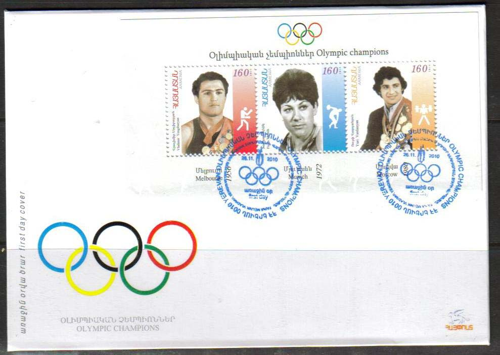 "<font 2-501f>501-3, Armenian Olympic Champions.  Scott #850 <br> Official FDC <br>Date of Issue: Nov. 26, 2010<br> <a href=""/images/ArmenianStamps-501-503-FDC.jpg"">   <font color=green><b>View the image</b></a></font>"