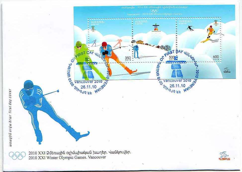 "<font 2-504f>504-6, Vancouver Winter Olympics.  Scott #851 <br> Official FDC <br>Date of Issue: Nov. 26, 2010<br> <a href=""/images/ArmenianStamps-504-506-FDC.jpg"">   <font color=green><b>View the image</b></a></font>"