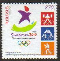 "<font 1-507a>507, Singapore Youth Olympic Games.  Scott #848 <br> A single stamp<br>Date of Issue: Nov. 26, 2010<br> <a href=""/images/ArmenianStamps-507.jpg"">   <font color=green><b>View the image</b></a></font>"