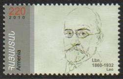 "<font 1-509a>509, Leo, Armenian author and historian (Arakel Babakhanyan).  Scott #852 <br>A single stamp<br>Date of Issue: Dec. 27, 2010<br> <a href=""/images/ArmenianStamps-509.jpg"">   <font color=green><b>View the image</b></a></font>"