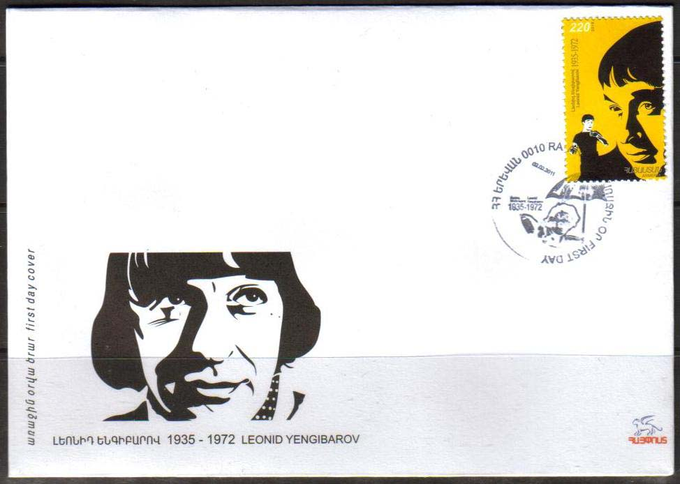 "<font =2-20f>520, Leonid Yengibarov, Actor,  Scott #--- <br>Official FDC <br>Date of Issue: Feb. 2, 2011<br> <a href=""/images/ArmenianStamps-520-FDC.jpg"">   <font color=green><b>View the image</b></a></font>"