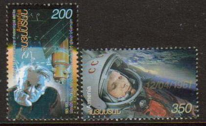 "<font =1-32a>532-3, Space achievements, Yuri Gagarin,  Scott #873-874 <br>A set of 2 stamps <br>Date of Issue: April 18, 2011<br> <a href=""/images/ArmenianStamps-532-533.jpg"">   <font color=green><b>View the image</b></a></font>"