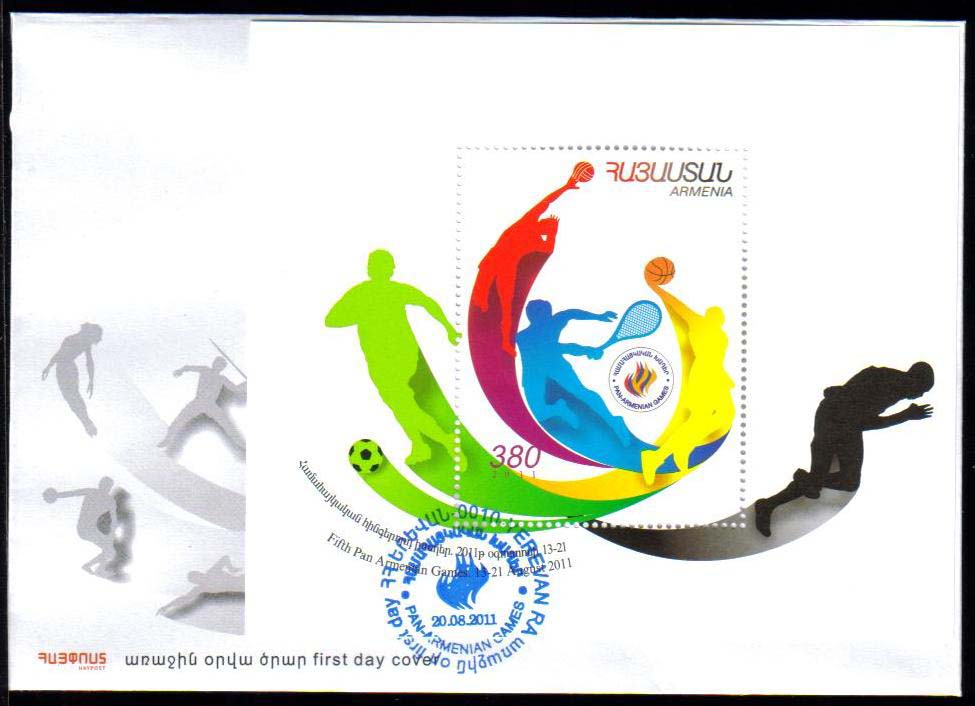 "<font =2-39f>539, 5th Pan-Armenian Games, Scott #--- <br>Official FDC<br>Date of Issue: August 20, 2011<br> <a href=""/images/ArmenianStamps-539-FDC.jpg"">   <font color=green><b>View the image</b></a></font>"
