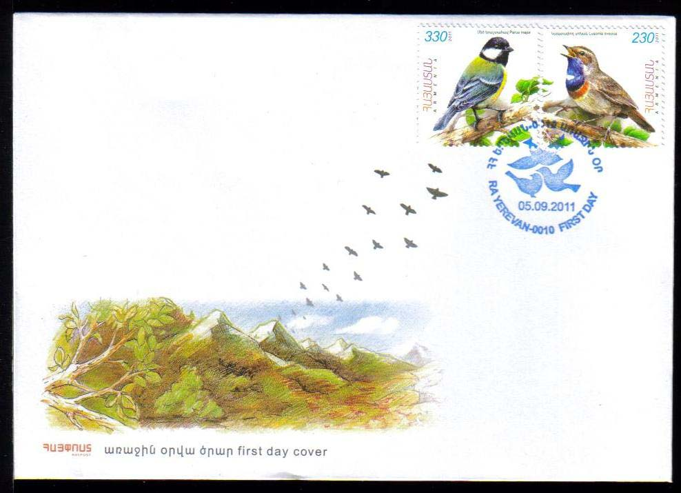 <font =2-542a>542-3, Flora and Fauna of Armenia, (Luscinia Svecica and Parus major), Birds, Scott #--- <br>Official FDC<br>Date of Issue: September 05, 2011<br> <a href=&quot;/images/ArmenianStamps-542-543-FDC.jpg&quot;>   <font color=green><b>View the image</b></a></font>