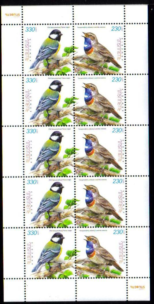 <font =4-542b>542-3, Flora and Fauna of Armenia, (Luscinia Svecica and Parus major), Birds, Scott #--- <br><font color=blue>Se-tenant Sheet of 10 stamps (5 sets)</font><br>Date of Issue: September 05, 2011<br> <a href=&quot;/images/ArmenianStamps-542-543-Tete.jpg&quot;>   <font color=green><b>View the image</b></a></font>