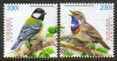 <font =1-542a>542-3, Flora and Fauna of Armenia, (Luscinia Svecica and Parus major), Birds, Scott #880-881 <br>A set of 2 stamps<br>Date of Issue: September 05, 2011<br> <a href=&quot;/images/ArmenianStamps-542-543.jpg&quot;>   <font color=green><b>View the image</b></a></font>