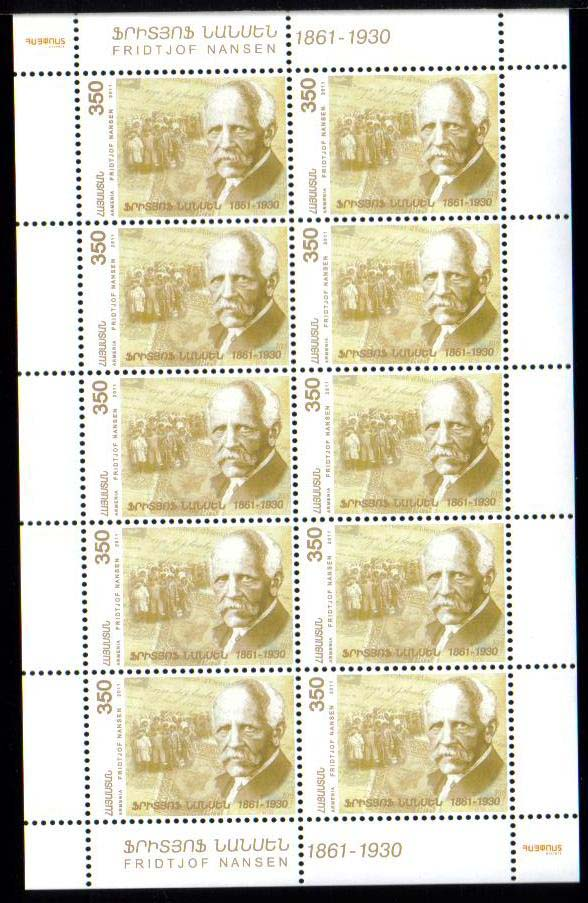 <font =4-544a>544, Fridtjof Nansen, 150th Birth Anniversary, Scott #--- <br>Sheetlet of 10 <br>Date of Issue: November 09, 2011<br> <a href=&quot;/images/ArmenianStamps-544-Sheet.jpg&quot;>   <font color=green><b>View the image</b></a></font>