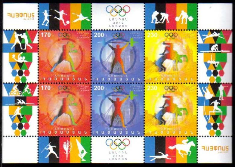 "<font =1-581b>581-3, London Olympic Games, Mini Sheet of 6, Scott #916 <br>Date of Issue: November 30, 2012 <br> <a href=""/images/ArmenianStamps-581-583-BL2.jpg"">   <font color=green><b>View the image</b></a></font>"