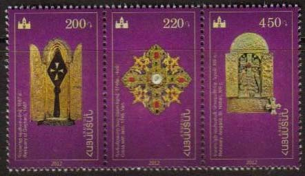 "<font =1-589>589-91, Treasures of Etchmiadzin, strip of 3 stamps, Scott #920 <br>Date of Issue: December 4, 2012 <br> <a href=""/images/ArmenianStamps-589-591.jpg"">   <font color=green><b>View the image</b></a></font>"