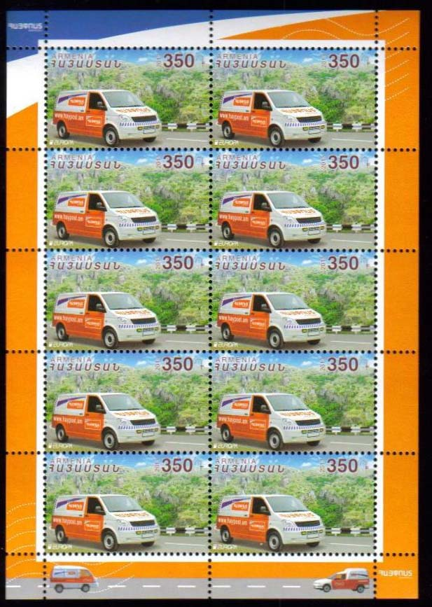 <font =4-621b>621, Europa 2013, Postal Van,  Complete sheets of 10, Scott #--- <br>Date of Issue: August 15, 2013 <br> <a href=&quot;/images/ArmenianStamps-621-Sheet.jpg&quot;>   <font color=green><b>View the image</b></a></font>