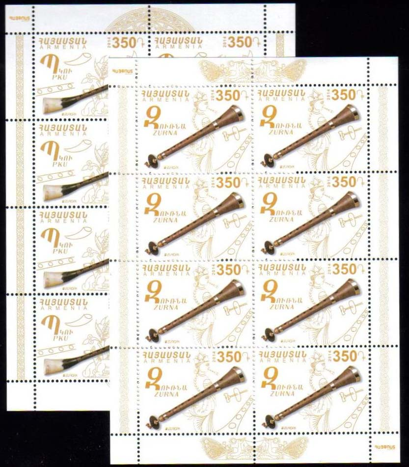 <font =4-674>674-675, Europa 2014, Complete sheets of 8, Scott #--- <br>Date of Issue: May 24, 2014 <br> <a href=&quot;/images/ArmenianStamps-674-675-Sheets.jpg&quot;>   <font color=green><b>View the image</b></a></font>
